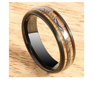black-tungsten-ring-koa-wood-and-abalone-6mm-1