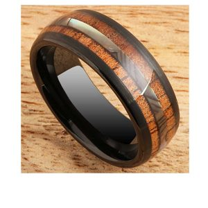 black-tungsten-ring-koa-wood-and-abalone-8mm