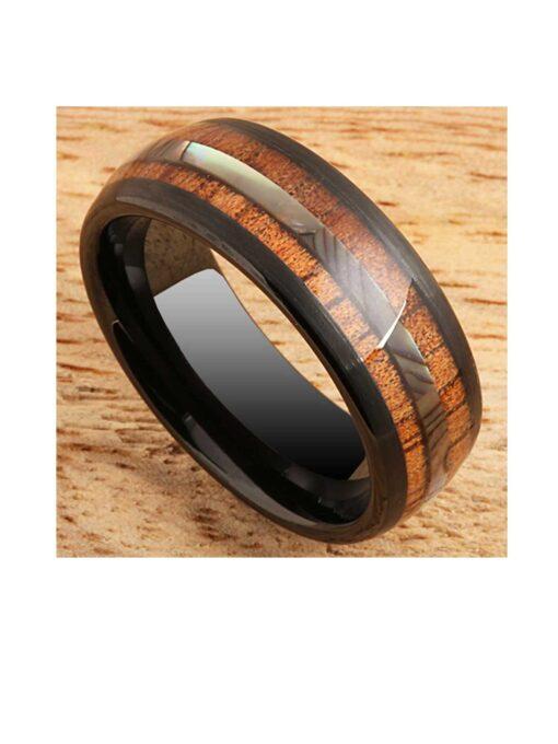 Koa Wood Ring Abalone Inlay Black Tungsten Wedding Ring 8mm