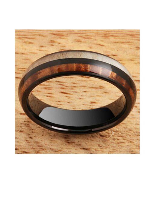 Koa Wood & Antler Black Tungsten Ring 6mm