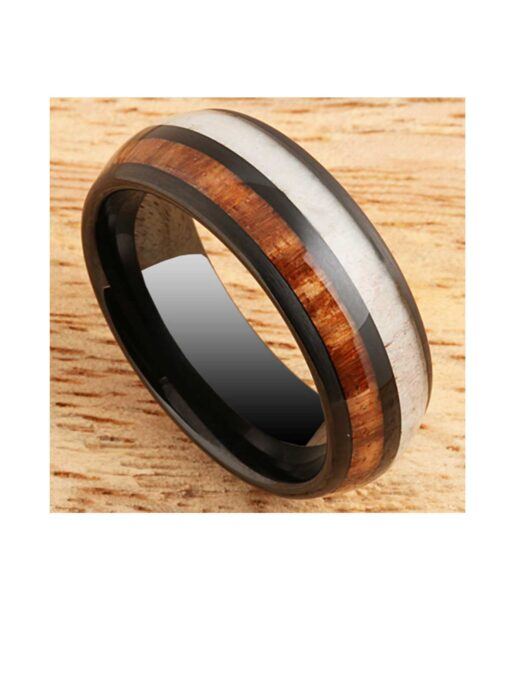 Koa Wood & Antler Black 8mm Tungsten Ring