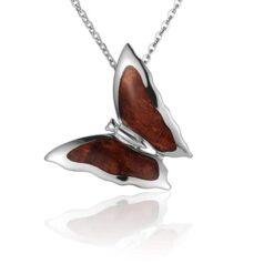 Koa Wood inlaid Sterling Silver Butterfly Pendant