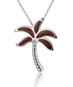 Koa Wood inlaid Sterling Silver Palm Tree Pendant