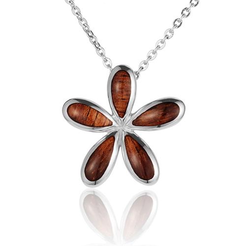 Koa Wood inlaid Sterling Silver Plumeria Pendant
