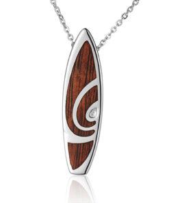 Koa Wood inlaid Solid Silver Surfboard Pendant