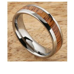 6mm tungsten ring with koa wood