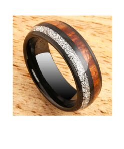 8mm Tungsten Ring Koa Wood & Meteorite