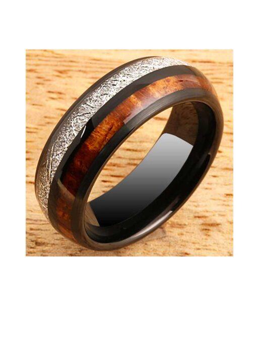 Koa Wood & Meteorite Inlay 8mm Black Tungsten Ring