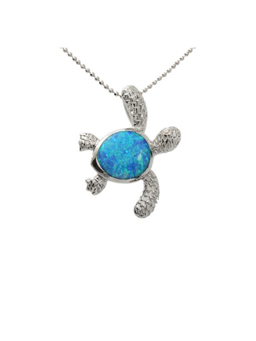 Sterling Silver Opal Inlay H-right(L) Turtle Pendant
