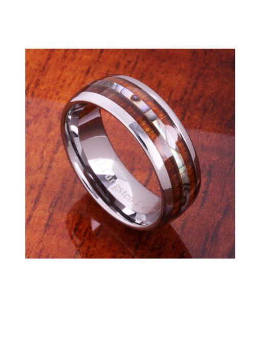 Koa Wood & Abalone Shell Inlay Tungsten Ring 8mm