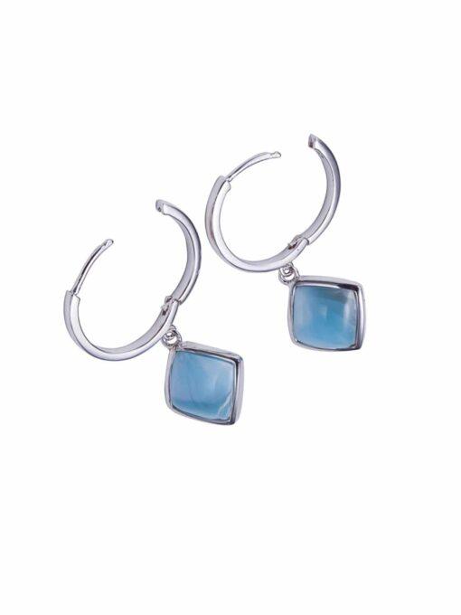 Sterling Silver Larimar Inlay Diamond Shape Hoop Earrings