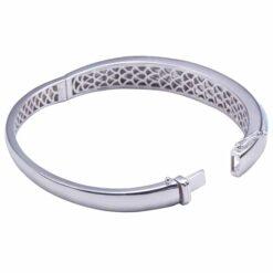 Pave Cubic Zirconia 925 Sterling Silver Larimar Bangle Bracelet Barrel Band