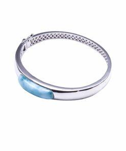 925 Sterling Silver Larimar Bangle Bracelet Barrel Band