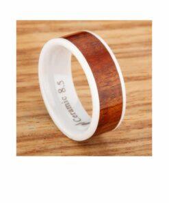 Hawaiian White Ceramic Koa Wood Wedding Ring (Pair)