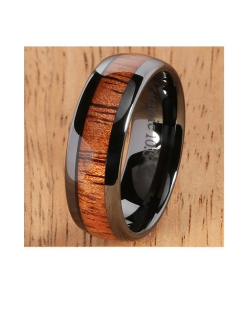 Black Ceramic Ring with Hawaiian Koa Wood Inlay 8mm