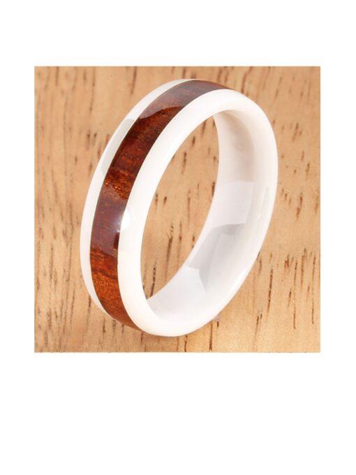 Natural Hawaiian Koa Wood Inlay White Ceramic 6mm Ring