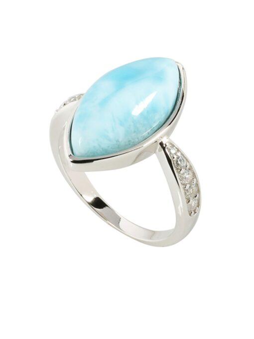 Larimar 925 Sterling Silver Eye Shape Inlaid Ring