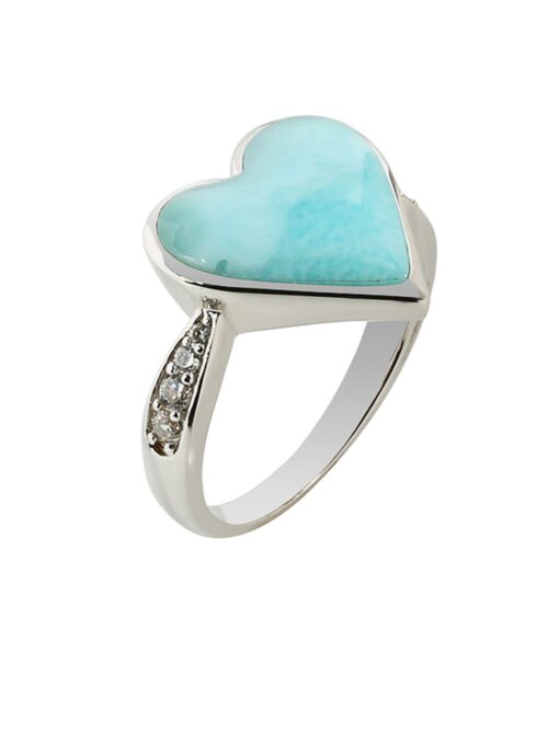Larimar 925 Sterling Silver Heart Shape Inlaid Ring