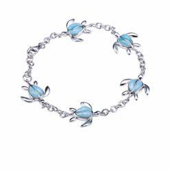 Inlay Larimar Honu Sterling Silver Link Chain Bracelet