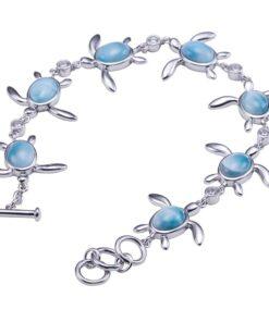 925 Sterling Silver Inlay Sea Turtle Bangle Larimar Bracelet