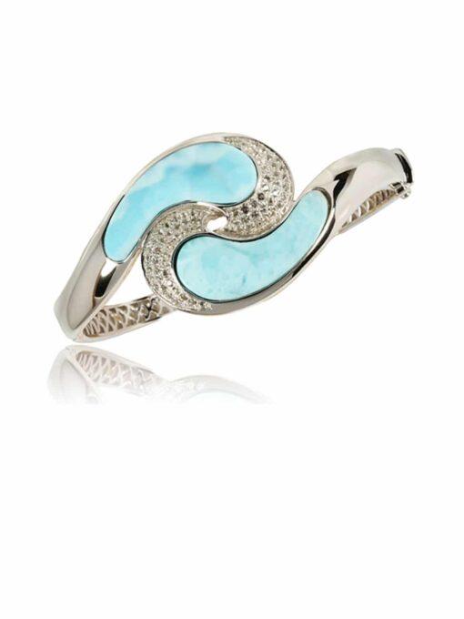 925 Sterling Silver Larimar Wave with CZ Bangle Bracelet