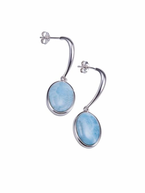 Larimar Inlay Sterling Silver Oval Shape Hanging Stud Earrings