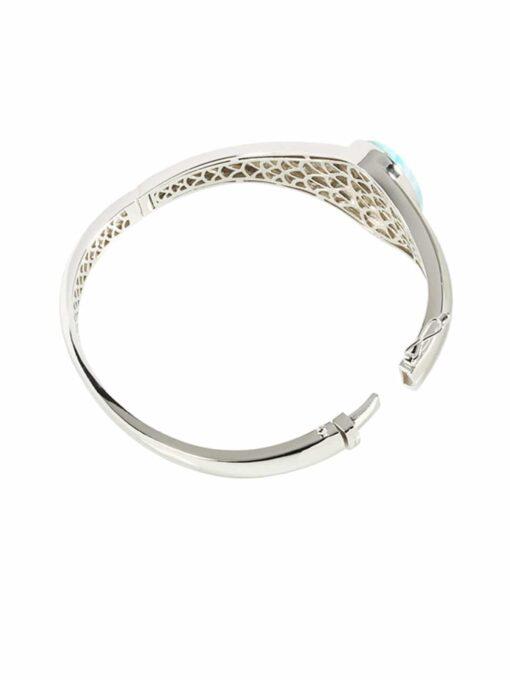 Larimar 925 Sterling Silver Stand-Oval Inlaid Bangle Bracelet