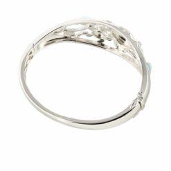 925 Sterling Silver Turtle Inlaid Larimar Bangle Bracelet
