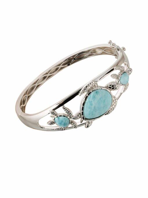 Three Turtle Larimar 925 Sterling Silver Bangle Bracelet