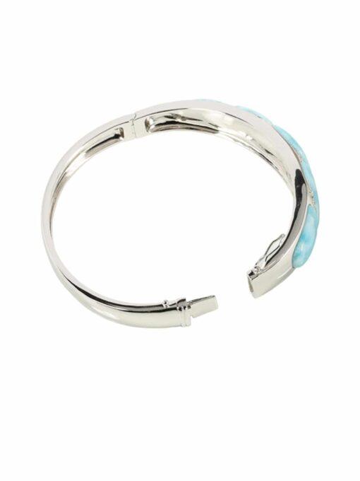 Larimar 925 Sterling Silver w/CZ Bangle Bracelet
