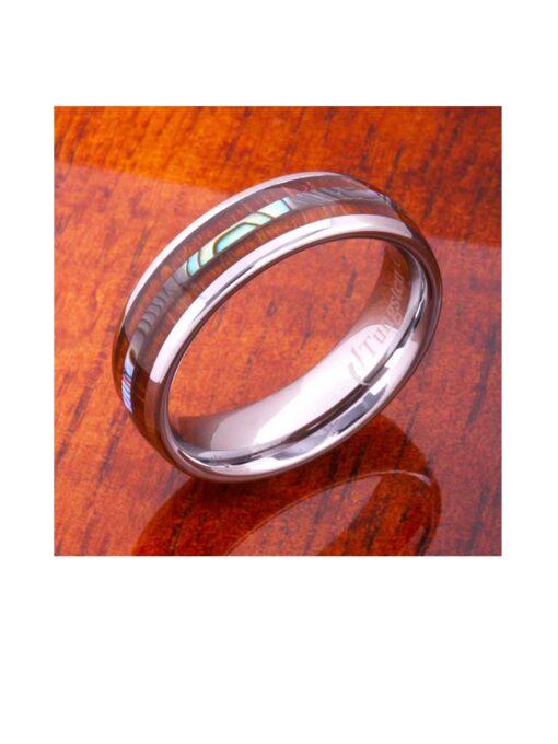Tungsten Ring Koa Wood and Abalone Shell Inlay 6mm